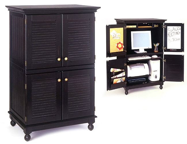 Computer armoire with distressed black finish 11062994 overstock