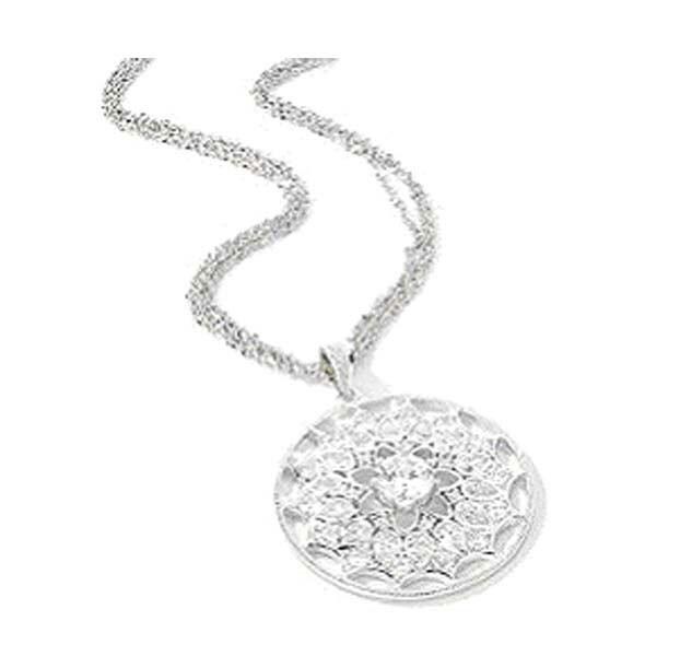 charles winston cubic zirconia flower medallion necklace