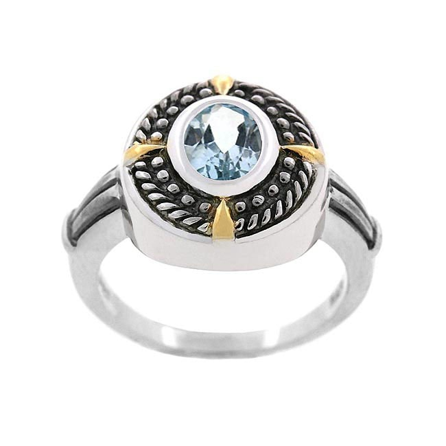 Glitzy Rocks Sterling Silver Blue Topaz Oxidized Ring