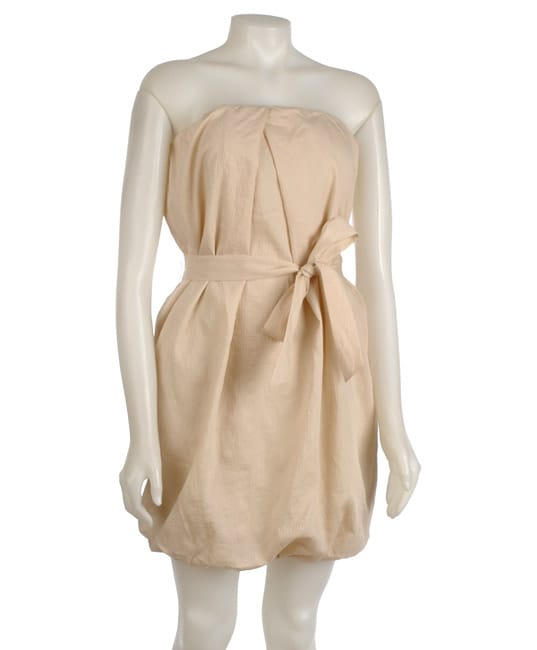 To The Max Beige Strapless Sheath Dress
