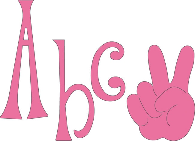 Cuttlebug hippie chick alphabet die set 11085870 for Large letter die cuts