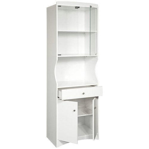 White Finish Tall Microwave Cabinet