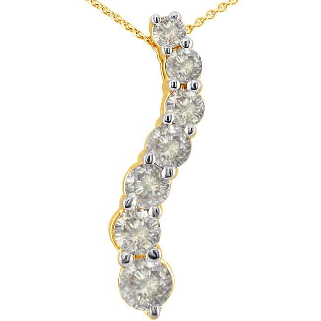 14k White Gold 3/4ct 7 Diamond Journey Curve Necklace