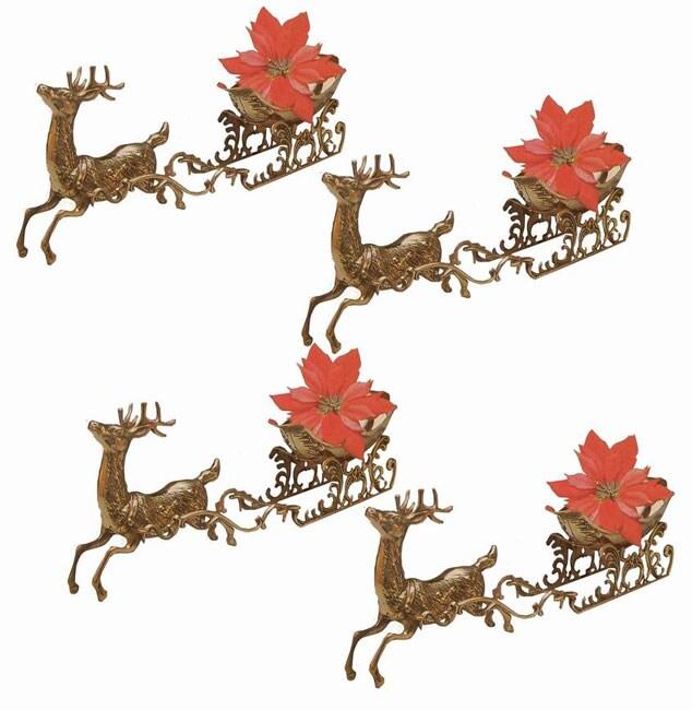 Brass Reindeer with Sleigh Decoration (Set of 4)