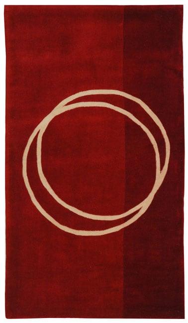 Safavieh Handmade Rodeo Drive Circle of Life Red/ Ivory N.Z. Wool Rug (2' x 3')