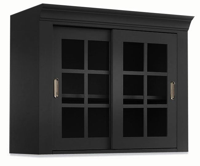 black wall storage top cabinet with sliding glass doors overstock shopping great deals on. Black Bedroom Furniture Sets. Home Design Ideas