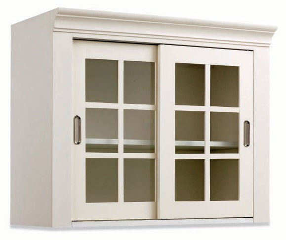 White Wall Storage Cabinet With Sliding Glass Doors 11099463