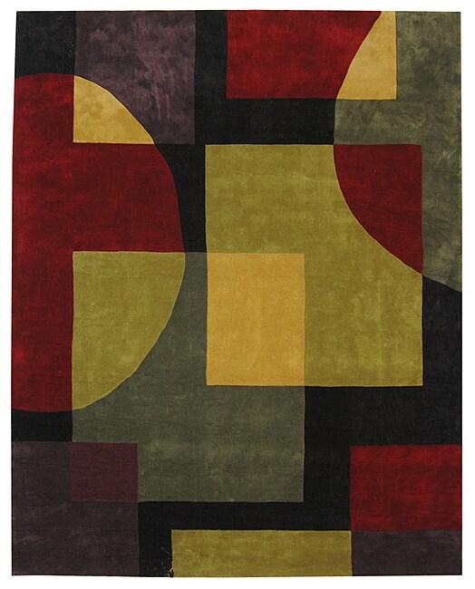 Safavieh Handmade Rodeo Drive Black/ Multi N. Z. Wool Rug (7'6 x 9'6)