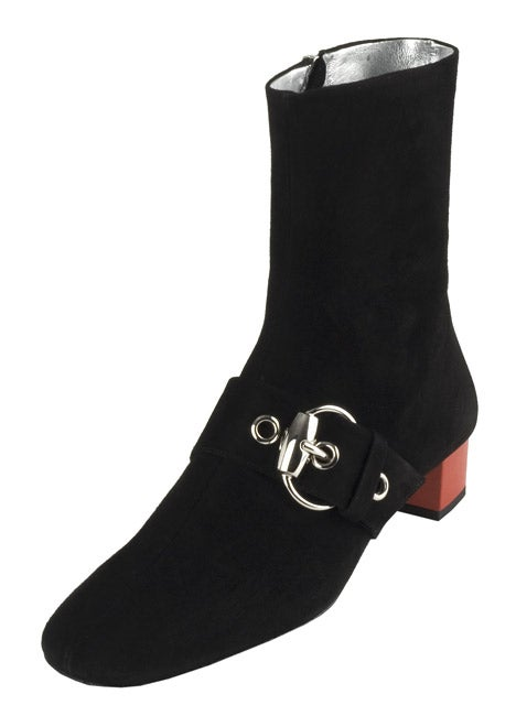 Gucci Black Suede Buckle Detail Boots