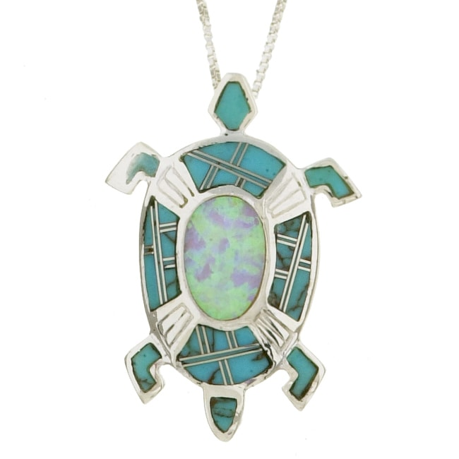 Sterling Silver Opal and Turquoise Turtle Necklace