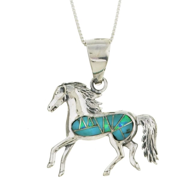 Sterling Silver Turquoise and Opal Horse Necklace