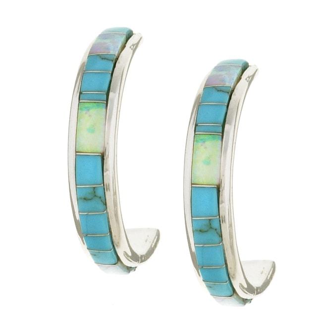 Sterling Silver Turquoise Opal Hoop Earrings