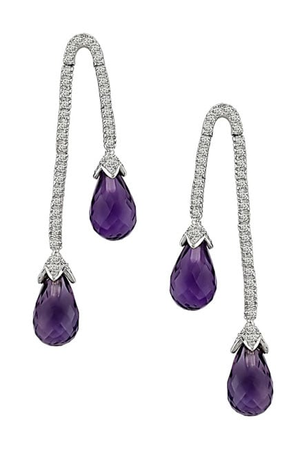 14k Gold Amethyst and 3/8ct TDW Diamond Earrings