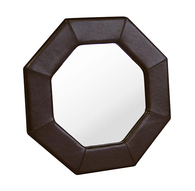 Aggie Dark Brown Bi-cast Leather Frame Mirror