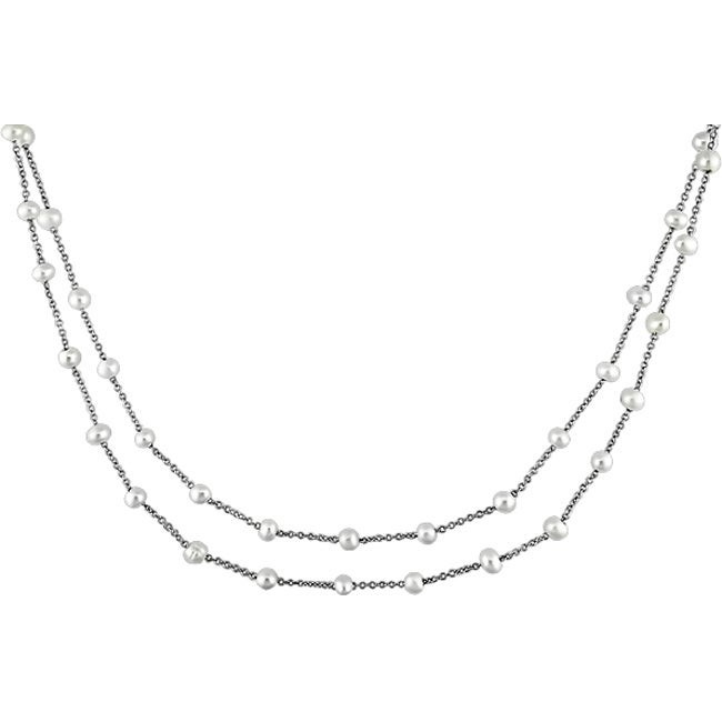 Miadora Sterling Silver Two-strand FW Pearl Necklace (4-5mm)