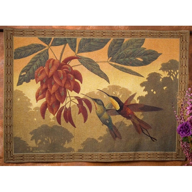 Hummingbird Flower Kisses Wall Art Tapestry
