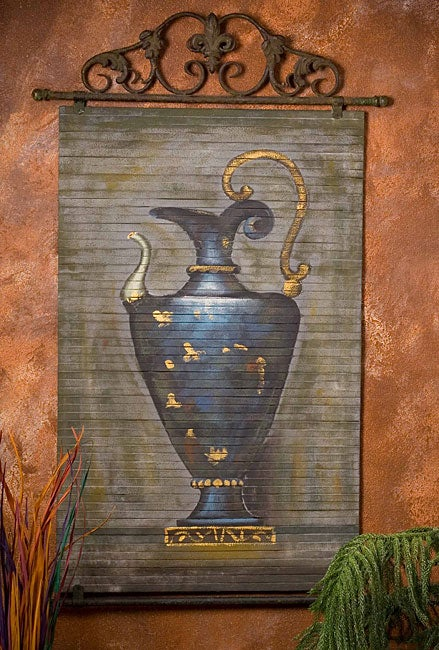 Hand-painted Blue Genie Bottle Bamboo Wall Art