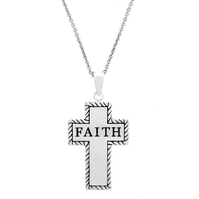 Mondevio Sterling Silver 'Faith' Cross Necklace