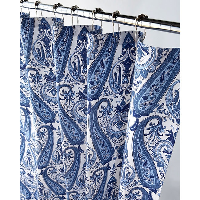 Elegant Blue Paisley Canvas Shower Curtain