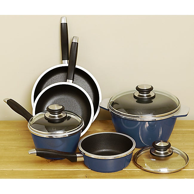 Renaissance Blue 8-piece Cast Aluminum Cookware Set