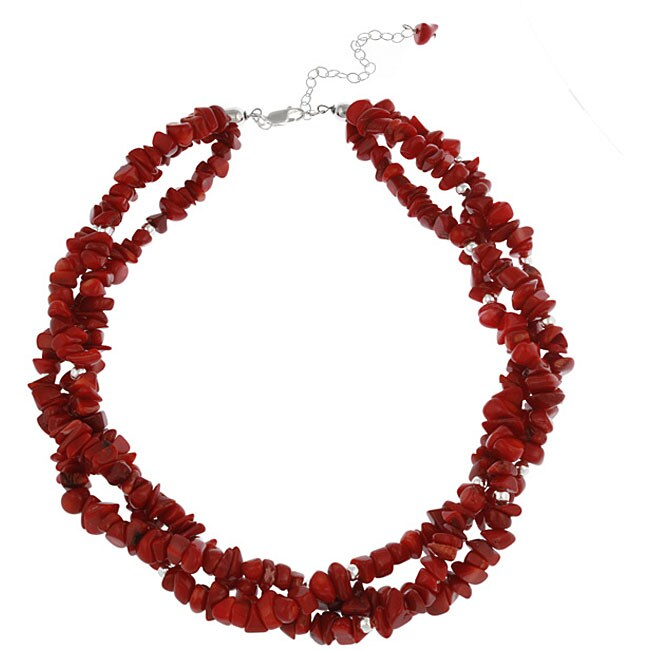 Glitzy Rocks Sea Bamboo Coral Chip 3-strand Necklace
