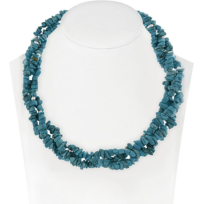 Glitzy Rocks Sterling Silver 3-strand Turquoise Chip Necklace