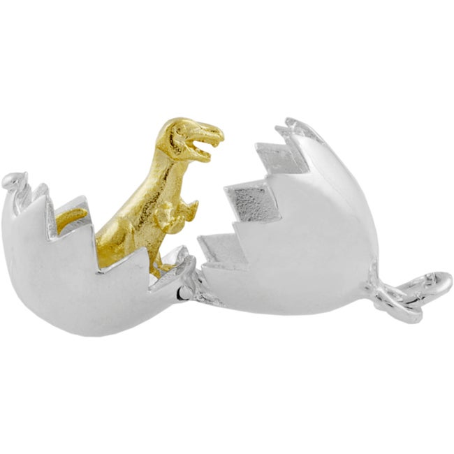 Journee Collection Sterling Silver Moveable Dinosaur Egg Necklace