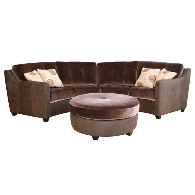 Zillah Dark Brown Velvet Suede Leather Sofa Set