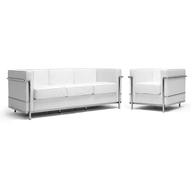 LC White Split Leather Sofa and Chair Set