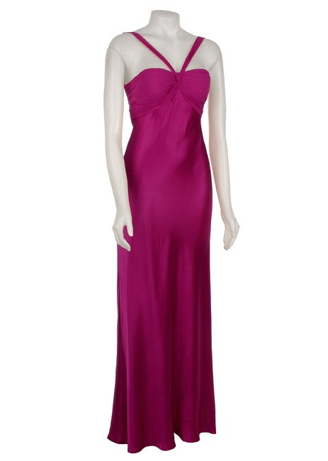 Adrianna Papell Womens Magenta Silk Dress