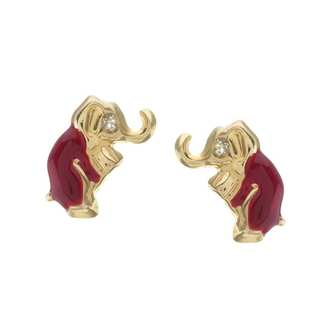 Gioelli 14k Yellow Gold Red Enamel Elephant Earrings