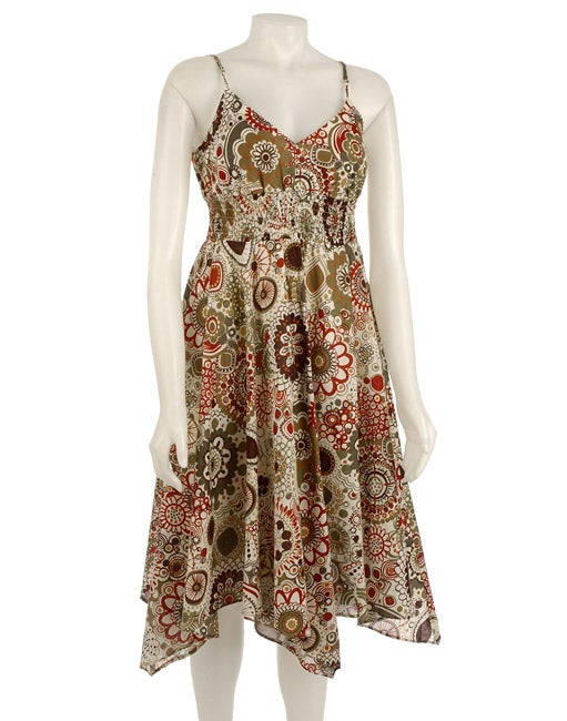 Sheri Martin Cotton Printed Hanky Hem Dress
