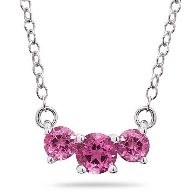 14k White Gold Three-stone Pink Topaz Necklace