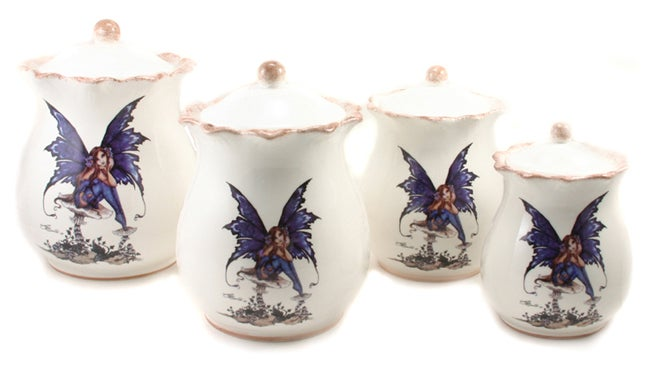 Amy Brown Fairy 4-piece Hand-painted Canister Set