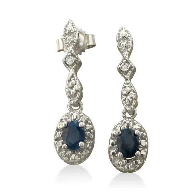 10k White Gold Blue Sapphire and Diamond Earrings