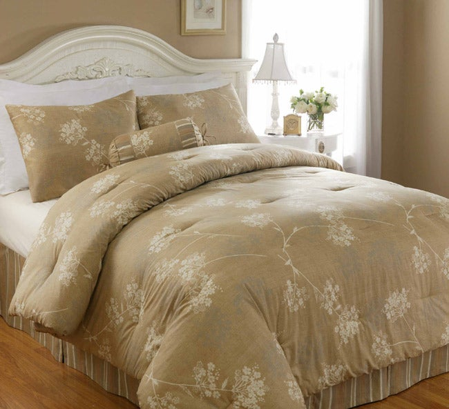 North crest home silhouette floral 4 piece comforter set for Crest home designs bedding