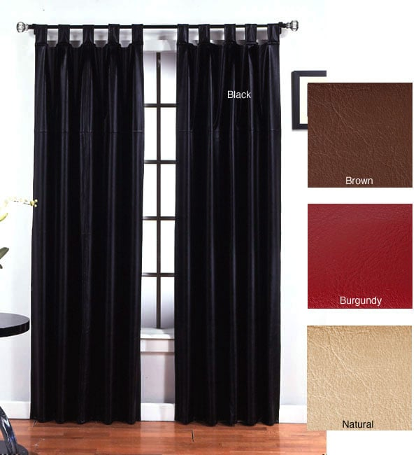 Faux Leather Metro Tab Top 84-inch Curtain Panel Pair