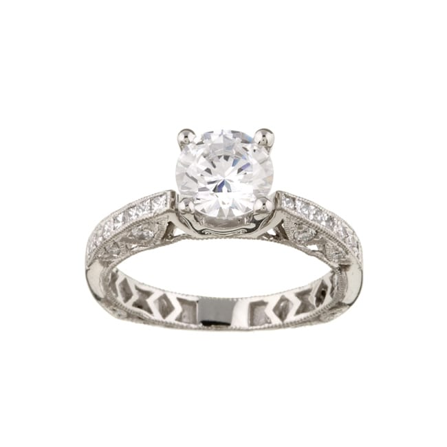 Tacori Platinum CZ and 1 3ct TDW Diamond Engagement Ring G VS