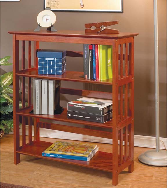 """36""""H Mission Style Solid Wood Bookcase - Overstock ..."""