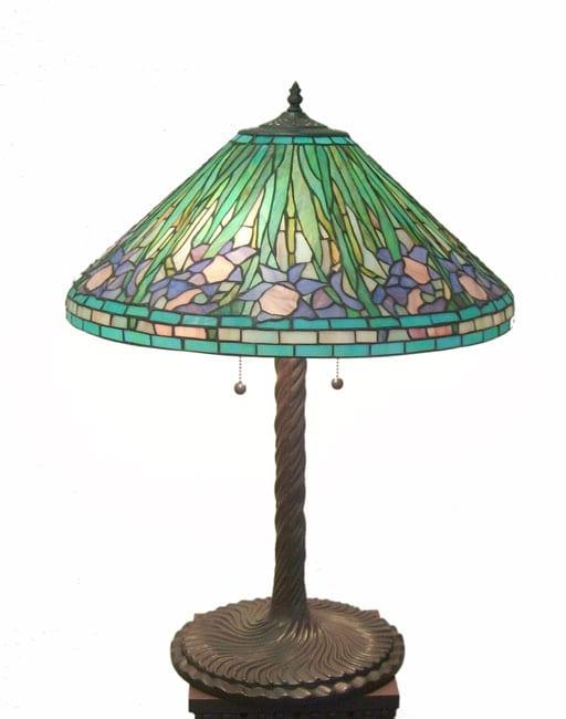 Tiffany-style Aqua Daffodil Table Lamp