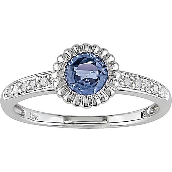 10k Gold Light Blue Sapphire and 1/10ct TDW Diamond Ring