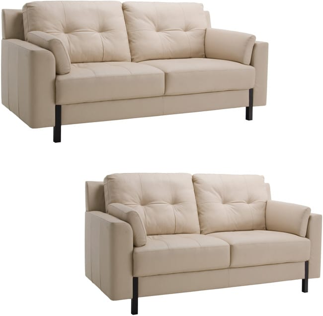 Tiffany Cream Leather Sofa And Loveseat Overstock Shopping Great Deals On Sofas Loveseats