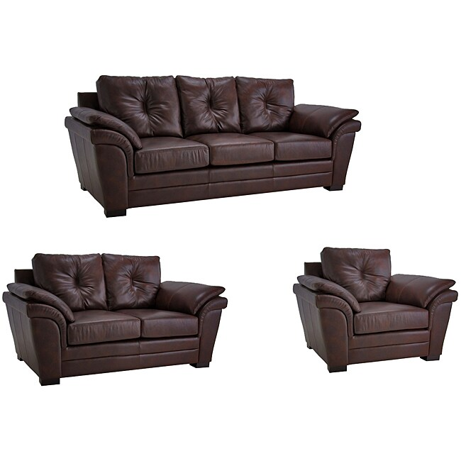 Brown Pillow Top Arm Leather Sofa Loveseat And Chair 11261154 Shopping