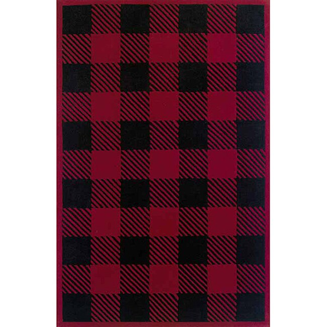 Woolrich Red/ Black Buffalo Check Wool Rug (3'6 x 5'6)