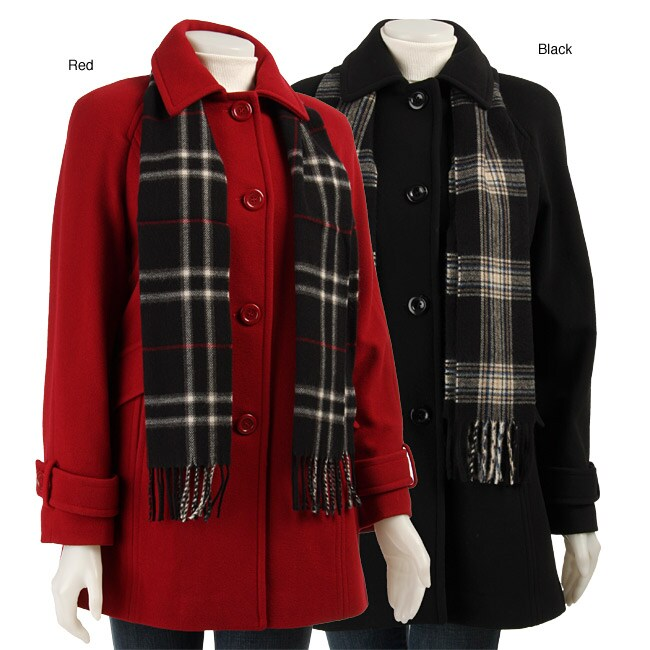 London Fog Women's Wool Coat with Scarf