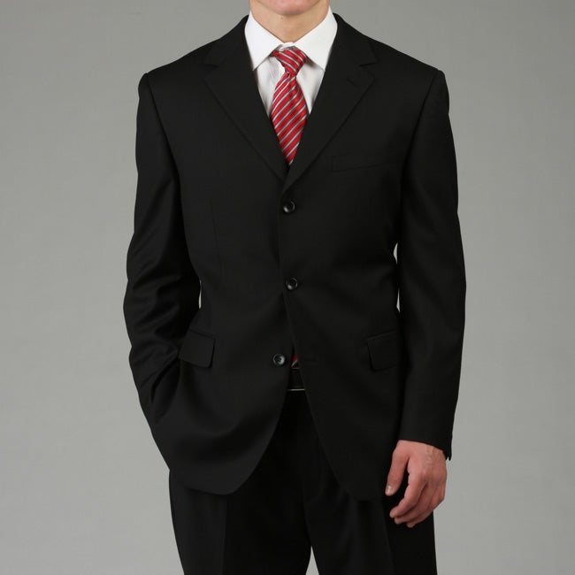 U&I Men's Solid Black Suit