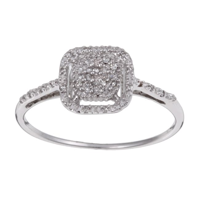 Unending Love 10k White Gold 1/10ct TDW Diamond Halo Ring (H-I, I3)
