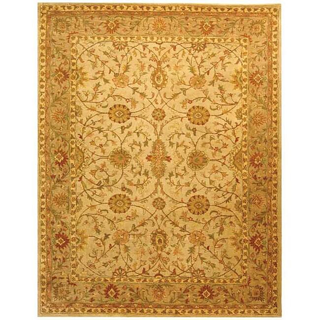 Safavieh Handmade Antiquities Kashan Ivory/ Beige Wool Rug (7'6 x 9'6)