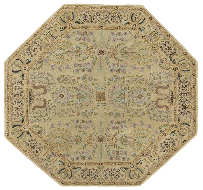 Hand Tufted Sarouk Beige Tan Wool Rug 6 Octagon