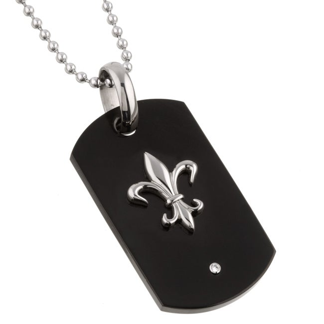 Men's Titanium Fleur de Lis Dog Tag Necklace